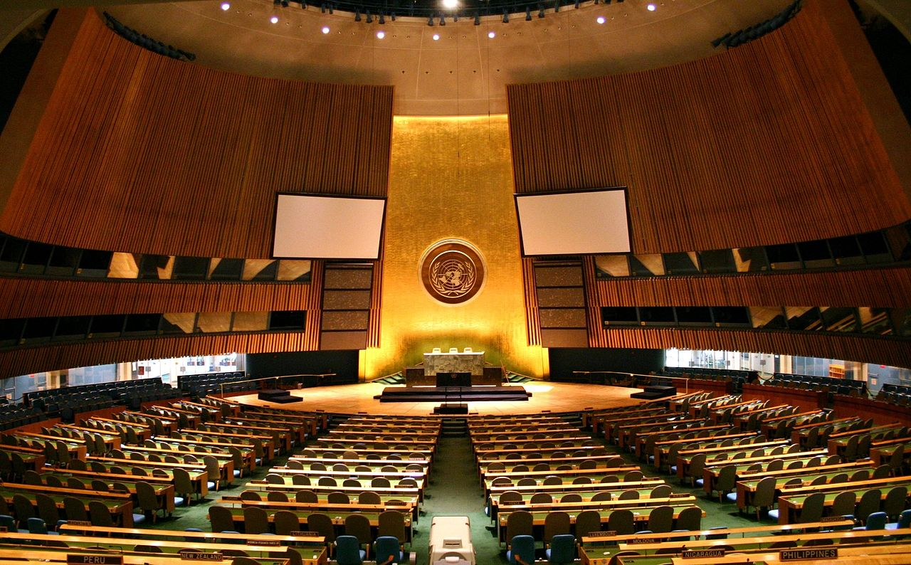 United Nations General Assembly hall in New York City. Flickr, Patrick Gruban.